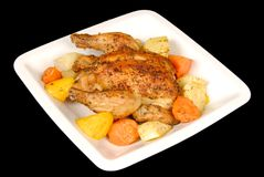 Roasted Cornish Hen and Root Vegetables Stock Images