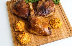 Roasted crispy duck leg Royalty Free Stock Photography