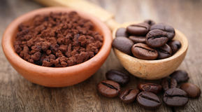 Roasted and crushed coffee bean Stock Photo