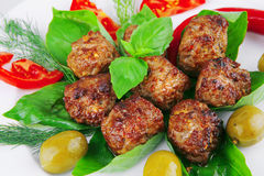 Roasted cutlets on basil Stock Images