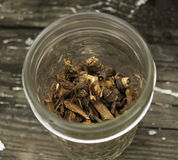Roasted Dandelion Roots in Jar Royalty Free Stock Images
