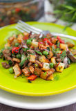 Roasted diced vegetables Stock Photo