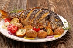 Free Roasted Dorada Fish With Vegetables On Wooden Background Stock Image - 114335171