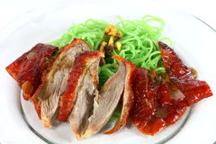 Roasted duck. With green noodle Stock Photography