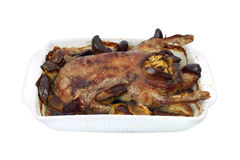Roasted duck with apples Royalty Free Stock Photo