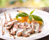 Roasted duck breast with banana Royalty Free Stock Image