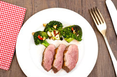 Roasted duck breast with broccoli Royalty Free Stock Image