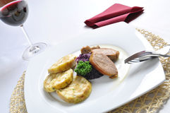 Roasted duck breast with Carlsbad dumplings Royalty Free Stock Image