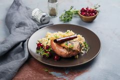 Roasted duck breast with couscous garnish and cherry sauce. Holiday or Christmas dinner meal concept royalty free stock images
