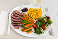 Roasted Duck Breast with cranberry sauce, spaetzle and vegetables. Stock Images