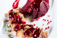 Roasted duck breast with cranberry sauce Stock Photos