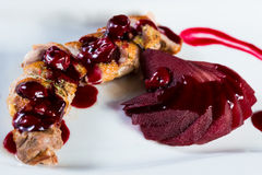 Roasted duck breast with cranberry sauce Stock Images