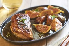 Roasted duck breast with figs and rosemary Royalty Free Stock Photo