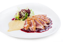 Roasted duck breast fillet in french style.  royalty free stock photos