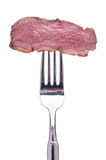 Roasted duck breast on a fork Stock Image