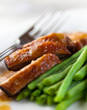 Roasted duck breast with green beans Royalty Free Stock Photos