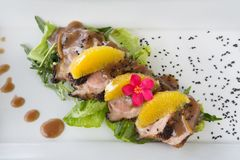 Roasted duck breast with oranges and orange sauce royalty free stock photography