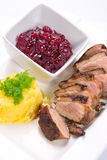 Roasted duck breast with potatoes Royalty Free Stock Photo