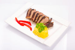 Roasted duck breast with potatoes Royalty Free Stock Photography