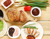 Roasted duck breast served with in the Chinese style Royalty Free Stock Photo