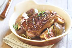Free Roasted Duck Breast With Figs And Rosemary Stock Photography - 44838502