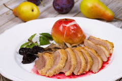 Roasted Duck Breasts with Mushroom, Apple and Plums Stuffing in Red Wine Sause. Stock Photos