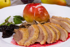 Roasted Duck Breasts with Mushroom, Apple and Plums Stuffing in Red Wine Sause. royalty free stock photos