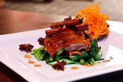 Roasted duck. With Chinese recipe sauce Stock Image