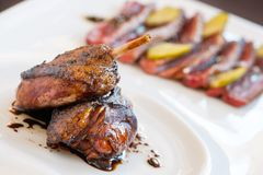 Roasted duck close up. Royalty Free Stock Photo