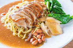 Roasted duck on egg noodles Stock Photos