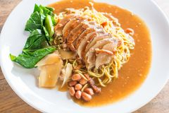 Roasted duck on egg noodles Royalty Free Stock Photo