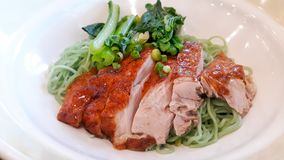 Roasted duck with Jade noodle. On plate royalty free stock images