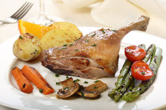 Roasted duck leg Royalty Free Stock Images