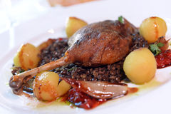Roasted duck leg with baked apples Royalty Free Stock Image