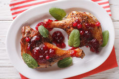 Roasted duck leg with cranberry sauce and mint closeup. horizont Royalty Free Stock Photo