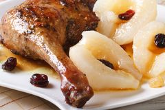Roasted duck leg meat with pears and raisins  macro, horizontal Stock Image