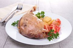 Roasted duck leg and vegetable Royalty Free Stock Image