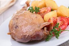 Roasted duck leg and vegetable Royalty Free Stock Photo