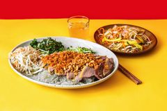 Roasted duck,noodle and salad Royalty Free Stock Photography