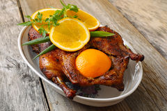 Roasted duck with orange Royalty Free Stock Photography