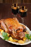 Roasted duck with quince, mint and red wine Royalty Free Stock Photography