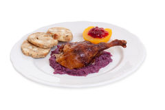 Roasted duck with red cabbage Stock Photos