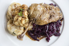 Roasted duck with red cabbage Royalty Free Stock Photo
