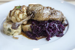 Roasted duck with red cabbage Stock Image