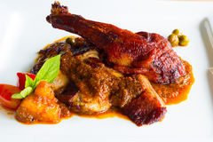 Roasted duck with red curry sauce Royalty Free Stock Photo