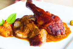 Roasted duck with red curry sauce Stock Images