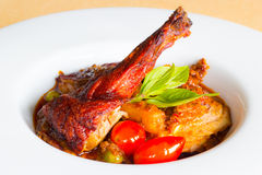 Roasted duck with red curry sauce royalty free stock photos
