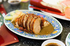 Roasted duck smoked honey sauce  Chinese Food style. Roasted duck smoked honey sauce Chinese Food in Restaurant Chinese style Stock Photography