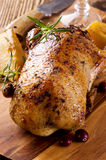 Roasted Duck on Wooden Board Royalty Free Stock Images
