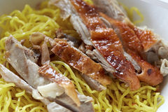 Roasted duck with yellow jade noodles Royalty Free Stock Photo